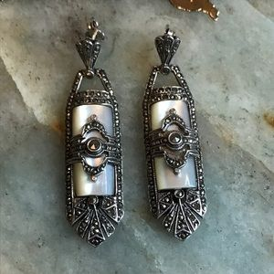 Art Deco style mother of pearl marcasite earrings